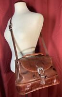 VTG Brighton Brown Croc Embossed Leather Buckle Flap Drawstring Bucket Bag RARE