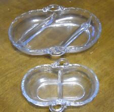 2 Vintage Fostoria Glass Century Pattern Divided Oval Relish Dishes