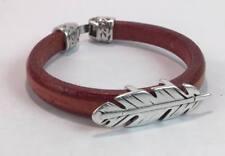 Handmade Men's Feather bracelet Mens Leather Bracelet Men's jewelry gift for him