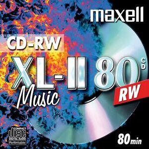 2 x Maxell Blank CD-RW XL-II 80 Audio Disc (4x 80min 700MB) Music CD ReWritable