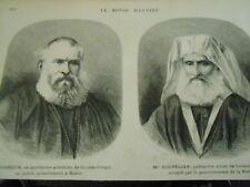 Gravure 1872 - Mgr Assoun ex patriarche Arménien et Kouéplian patriarche