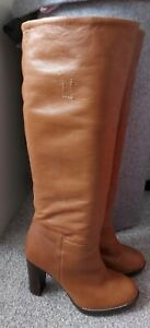 *HOBBS NW3 SIZE 5 TAN/BROWN LEATHER HIGH LEG PULL ON BOOTS*L@@K*