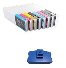 Empty Refillable Ink Cartridge 220ml 8pcs Epson Stylus Pro 4800 + Chip Resetter