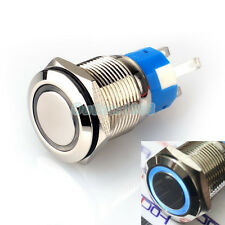 19mm Blue LED Angel Eye 12V Momentary Metal Push Button Switch 1NO1NC Waterproof