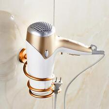 Wall Hair Dryer Rack Space Aluminum Bathroom Wall Holder Shelf Storage Gold