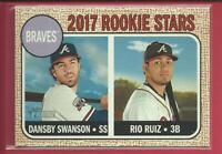 Dansby Swanson Rio Ruiz RC 2017 Topps Heritage Rookie Card # 76 Atlanta Braves
