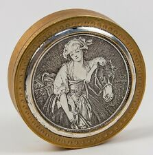 Antique French Pill, Patch or Snuff Box, Engraved, Jean-Baptiste Greuze Milkmaid