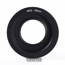 Adapter Ring M42 Screw Lens to Nikon DSLR Mount camera with glass focus infinity