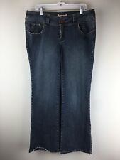Z Cavaricci Womens Jeans Bootcut Distressed Stretch 16 Blue Denim Pants