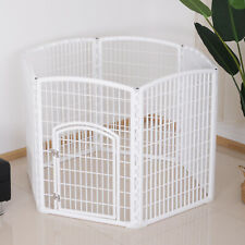PawHut 6 Panel Pet Dog Playpen Foldable Plastic Crate Kennel Enclosure White