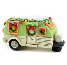 Miniature Dollhouse Fairy Garden Christmas Green Camper LED Lighted 221