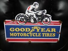 Old style-porcelain look Goodyear motorcycle dealer sales service sign NICE