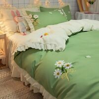 Princess Lace Thick Brushed Plate Printing Bed Skirt  Pastoral Style Bedding
