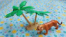 2 Plastic Toys:  Miniature tiger and palm tree • safari figurines cake toppers