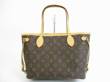 Authentic LOUIS VUITTON Monogram Leather Brown Hand Bag Purse Neverfull PM #5439