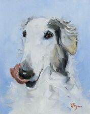 Pintura al óleo originales-Retrato De Un Perro BORZOI-por J Payne