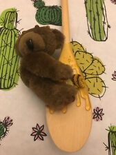 Winnie The Pooh Esque Stuffed Bear On Wooden Ladle Fake Honey Free Shipping