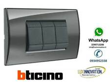 Bticino LNA4803KF placca 3P fumo di londra originale living-light