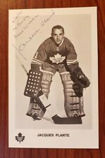 JACQUES PLANTE Autographed Photo TORONTO MAPLE LEAFS Vintage 1971 FREE SHIPPING