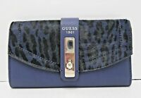 Guess $40 NEW Blue Leopard Pebbled Wallet Tri Fold Snap Close Silver ID Slots