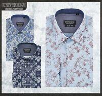 Men's Printed Floral Shirt Skinny-fit ▍Vintage Cotton Long Sleeve NB101