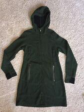 Ibex Zque Merino Wool Women's Pez Long Tunic Hooded Sweater Jacket Size M Green