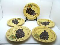 "Tabletops Lifestyles Vino Hand Painted 8 3/4"" Salad Plates Set Of 5 Plates"