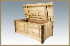 Solid Wood Toy Chest Amish Made Log Cabin Blanket Hope Sitting Chests