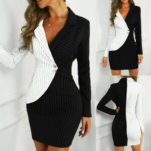 Women Turn Down Neck Long Sleeve Buttons Striped Patchwork Bodycon Dress Clothes