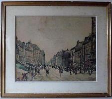 AQUARELLE SCENE DE RUE PARIS FAUBOURG ST MARTIN signé L PARIZOT 1927 XX