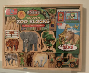 WOODEN ZOO BLOCKS CUTOUTS T.S. SHURE ARHCIQUEST WITH WOODEN TRAY 35 PIECES NIP