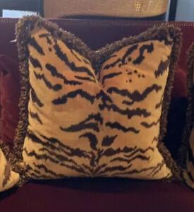 """(1) Scalamandre - """"Tigre"""" Skin Cut Italian Velvet Pillow W/ Trim 22 X 22"""
