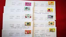 """10 timbres oblitérés sur lettre , thème """" les dictons illustrés"""" 2013"""