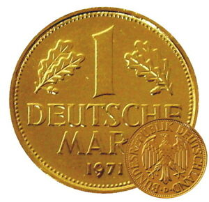 +++ 1 DM 1971 - 24 Karat vergoldet - 50.Geburtstag  +++