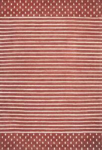 Morse Awning Stripes Rust Red Hand-Tufted 100% Wool Soft Area Rug Carpet.
