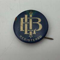 "Vintage Antique 7/8"" Unknown Acronym Registered Pin Pinback Button  N7"