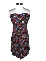 TORRID Plus Size 24W Mini Dress Black Red Blue Floral Pleated Strapless Short