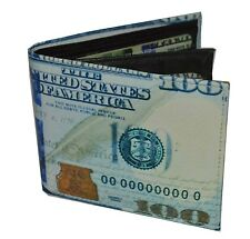 Mens Bifold Exotic Wallet Picture of Hundred Dollar Bill with printed gift box.