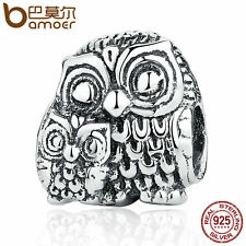 Bamoer European 925 Sterling Silver Thread charm with pretty Owls fit Bracelets