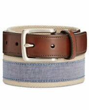 NEW $115 CLUB ROOM Men BLUE BEIGE CANVAS LEATHER TRIM CASUAL DRESS BELT SIZE 44