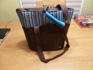 Raya By Thermos Insulated Bag Brown Lunch Tote Stripes Strap