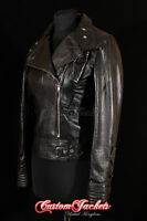 Ladies COSMOPOLITAN Black Designer Rock Fashion Girls Real Leather Jacket