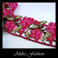 EMBROIDERED LACE TRIM - Pink Magenta Flower Cotton Silk 0.5y - VERY WIDE 11cm