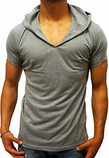 NEW MENS PLAIN GREY HOODED T-SHIRT HOOD V-NECK S - XXL SLIM FIT FASHION GYM EURO