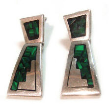 TAXCO .925 Sterling Silver Handcrafted Earrings Malachite Inlay from Mexico