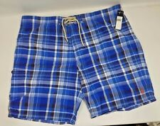 Polo Ralph Lauren Mens Shelter Island Plaid Swim Trunks Blue Shorts 42 NWT