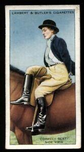 Tobacco Card, Lambert Butler, HORSEMANSHIP, 1938, Correct Seat Side View, #44