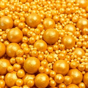 GOLD SHIMMER VARIOUS SIZES SUGAR PEARLS SPRINKLES BALLS CAKE DECORATIONS