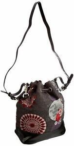 DESIGUAL WOMENS SHOULDER HANDBAG TRAVEL BAG SMALL FELT FLORAL BUCKET MEDIUM 142