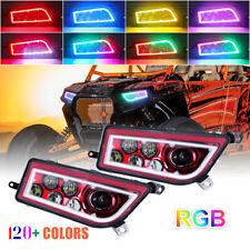 RED ATV LED Headlights RGB Halo Angel Eyes For 2014-2018 Polaris RZR XP 1000 900